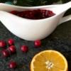 Homemade cranberry sauce with orange juice
