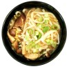 Japanese udon noodle soup with shiitake mushrooms