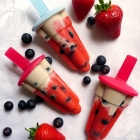 Healthy Homemade Red White and Blue Popsicles