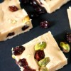 Orange White Chocolate Fudge with Cranberries and Pistachios