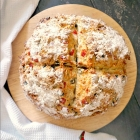 Soda Bread with Cheddar Cheese, Olives and Red Peppers