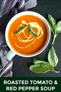 Light Roasted Tomato and Red Pepper Soup with basil, a delicious homemade recipe to comfort you no matter the season. It might be simple, but the flavours are fantastic. Healthy, easy to make, and better than any store-bought soup.