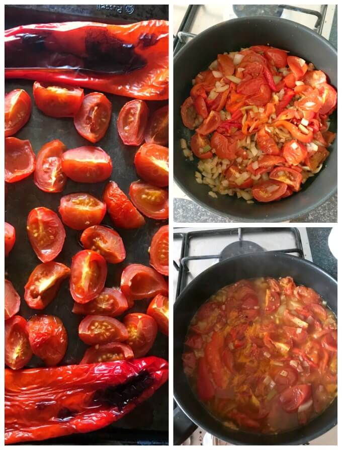 Collage of 3 photos to show how to make roasted tomato and red pepper soup