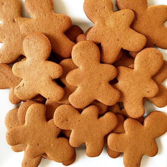 Plain gingerbread men on a white plate