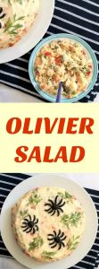 Olivier Salad or Russian potato salad (also spelt Olivie/Olivye) with mayo, carrots, peas, and pickles, a fantastic salad for the festive season and all year around.