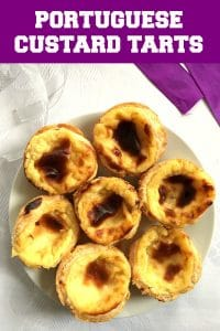 Portuguese Custard Tarts or Pastéis de Nata, heavenly delicious bites that are super easy to make at home.