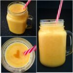 A collage of 3 photos of mango and banana smoothie