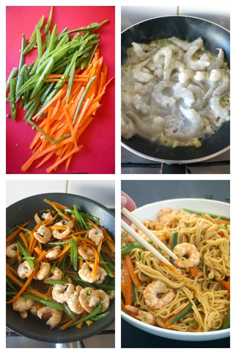A collage of 4 photos to show how to make spicy shrimp stir-fry with noodles