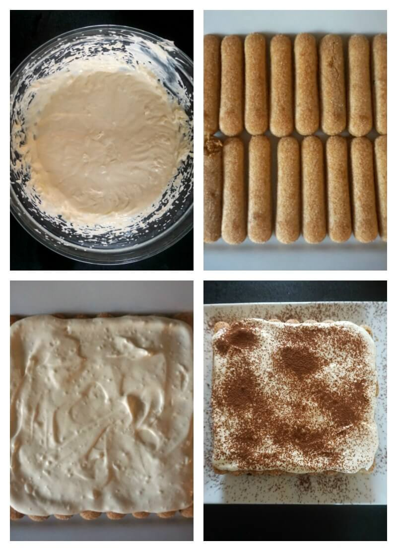 Collage of 4 photos to show how to make an easy tiramisu recipe