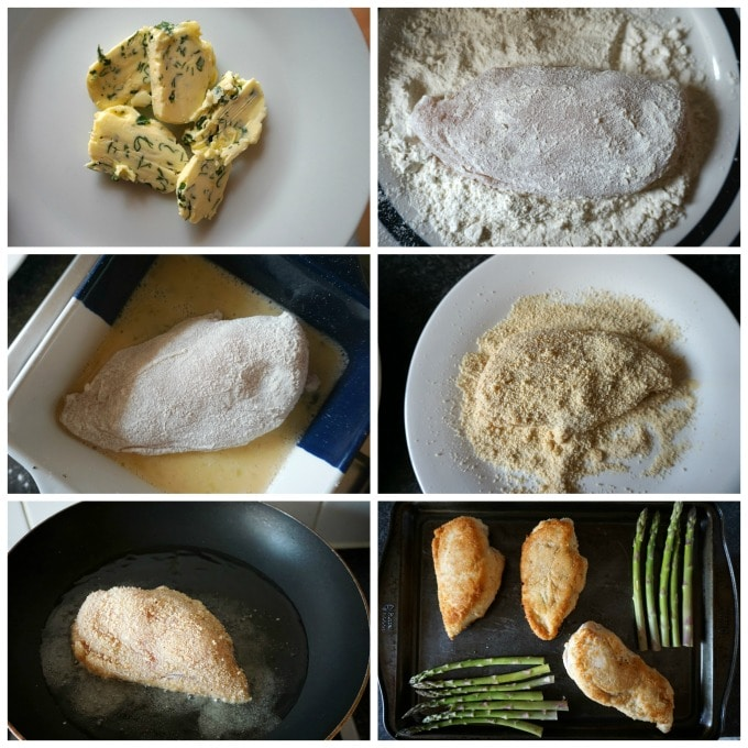 Collage of 6 photos to show step-by-step instructions how to make chicken kiev