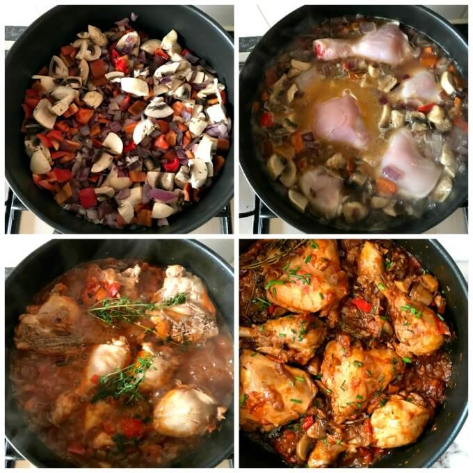 Collage of 4 photos to show how to make chicken stew