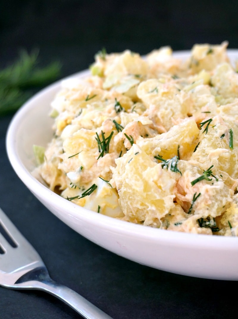 Deviled egg potato salad with salmon my gorgeous recipes for How to make homemade deviled egg potato salad