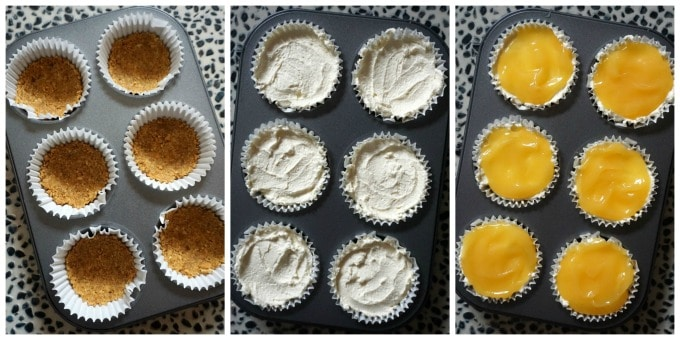 A collage of 3 photos to show how to make mini lemon cheesecakes