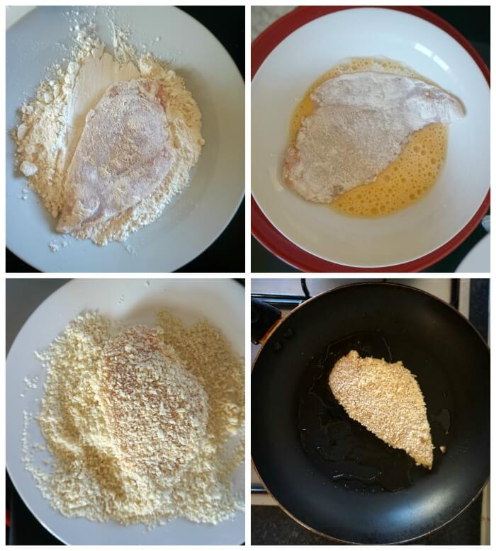 Collage of 4 photos to show how to make chicken schnitzel for chicken katsu curry