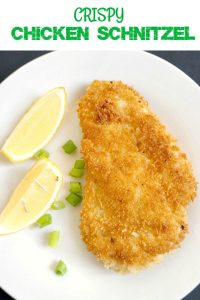 German Chicken Schnitzel, golden and crispy on the outside, and tender on the inside. It's ready in about 15 minutes.