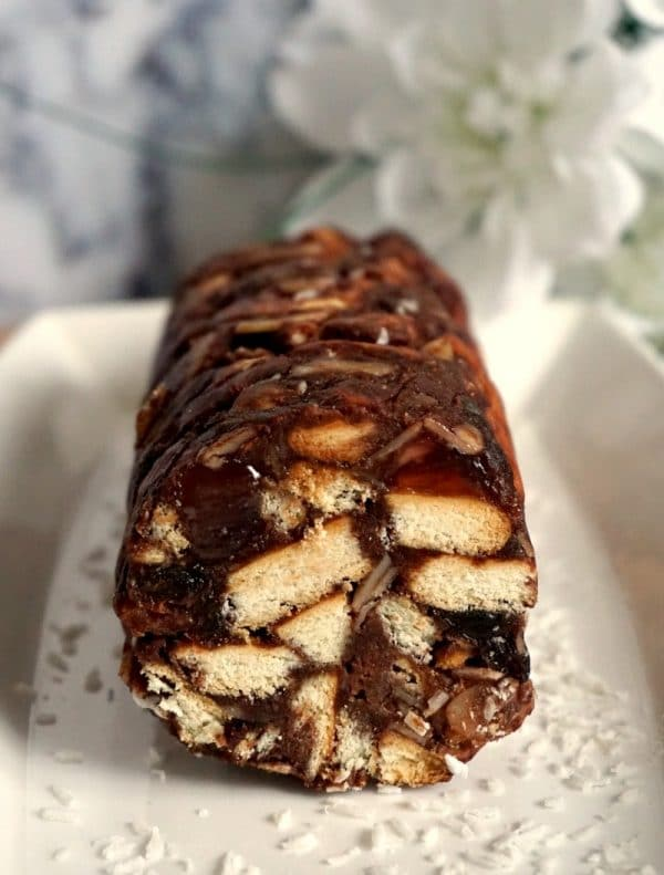 Chocolate Salami on a white plate