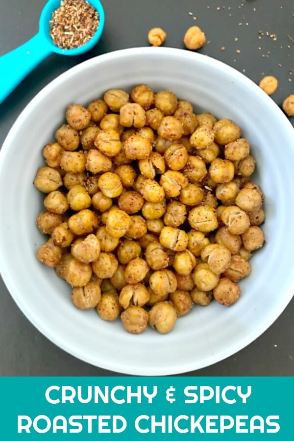 Spicy & Crunchy Roasted Chickpeas, with a hint of rosemary, a healthy and delicious snack that goes down a treat. Low carb and high protein, this is a fabulous snack if you want to keep you calorie intake low.