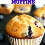 Easy Blueberry Muffins made from scratch, deliciously fluffy and golden, and healthy too. Great as a breakfast on the go or a healthy snack in between meals. Perfect afterschool snack for little ones. It uses a lot less sugar than regular muffins, making it a treat for everyone.