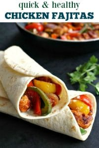 Healthy Chicken Fajitas, a lovely light & super quick midweek dinner that is ready in under 15 minutes. These chicken fajita wraps are the most delicious Mexican food.