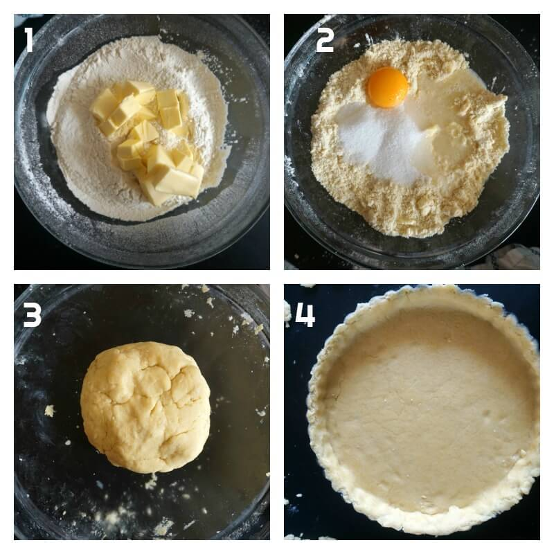 Collage of 4 photos to show how to make cantaloupe pie