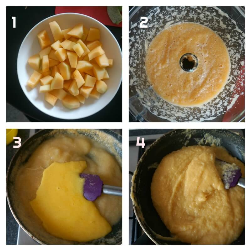 Collage of 4 photos to show how to make cantaloupe filling