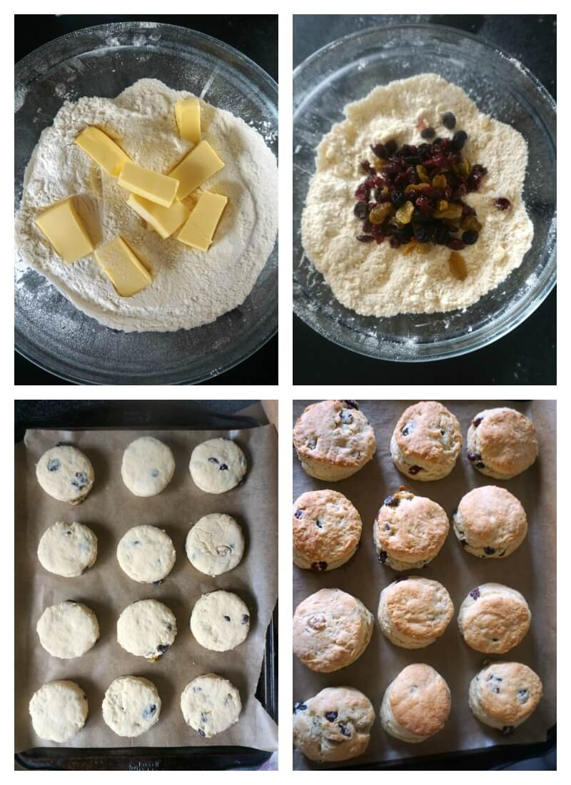 Collage of 4 photos to show how to make british scones