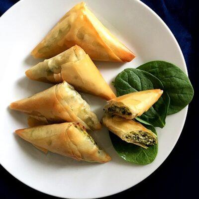Spanakopita Triangles (Greek Feta and Spinach Pies)
