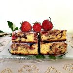 Chocolate marble cake recipe with strawberries, a delicious dessert that is so fluffy, moist and super easy to make.
