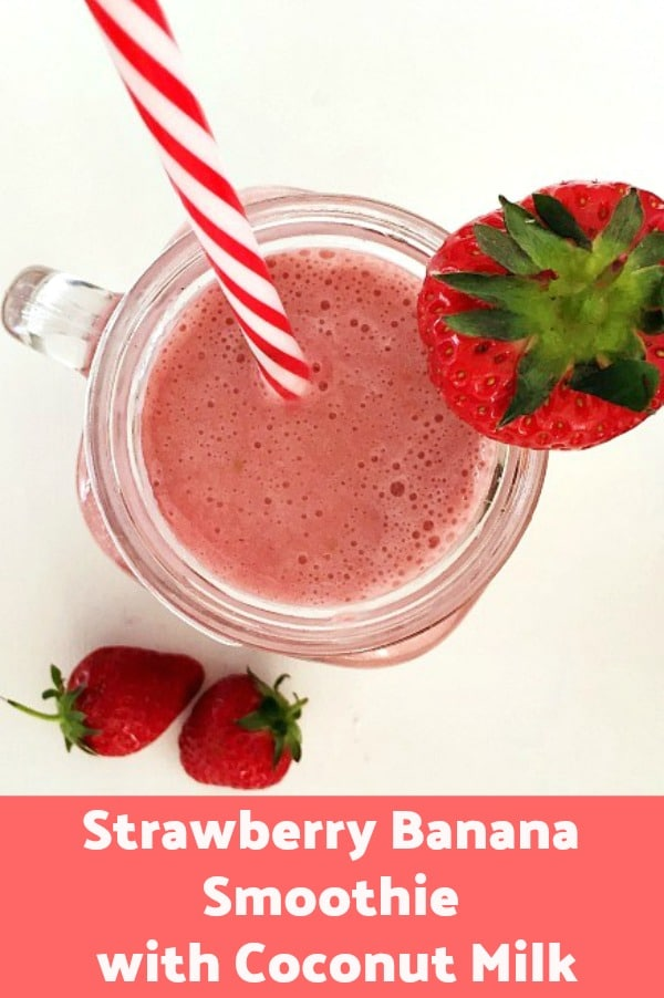 Strawberry Banana Smoothie with Coconut Milk, only 3 ingredients, and you are ready to face even the hottest summer. A child, vegetarian and vegan-friendly drink.