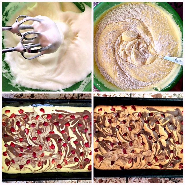 Collage of 4 photos to show stp-by-step instructions how to make chocolate marble cake with strawberries
