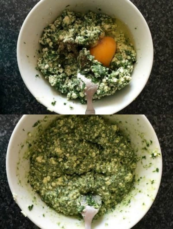 collage of two photos to show to to mix the ingredients for the spanakopita triangles