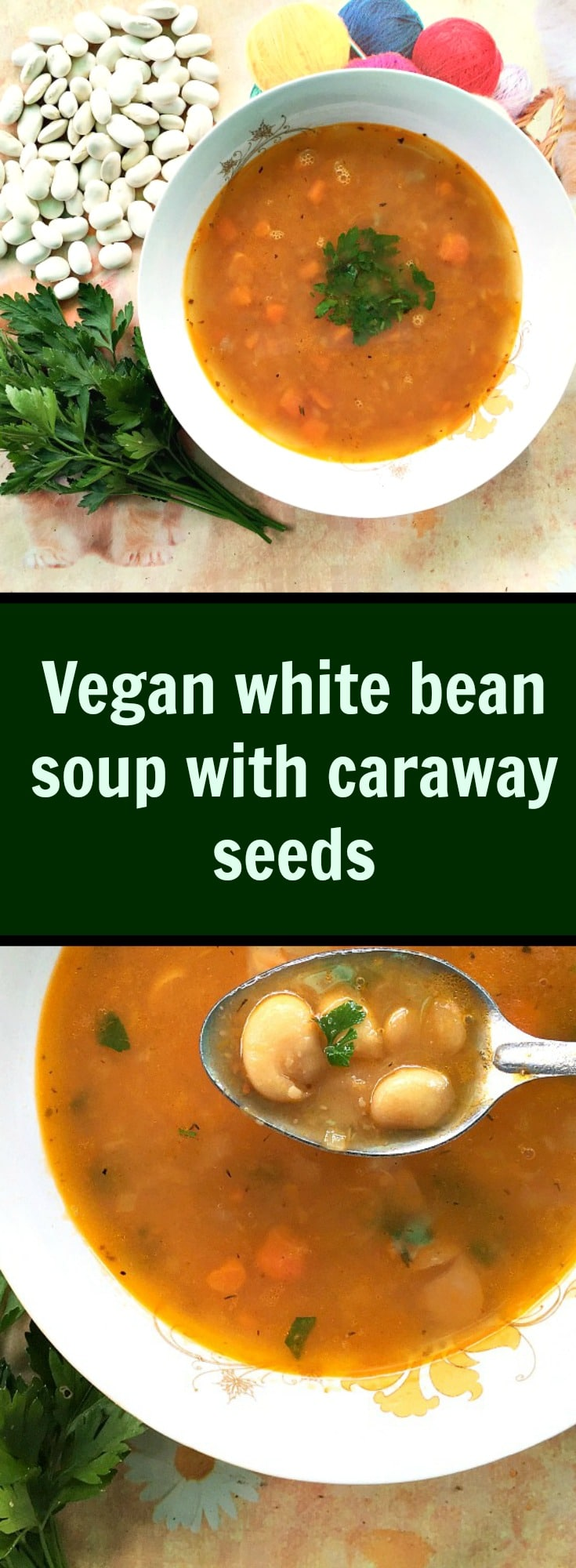 Vegan white bean soup with caraway seeds