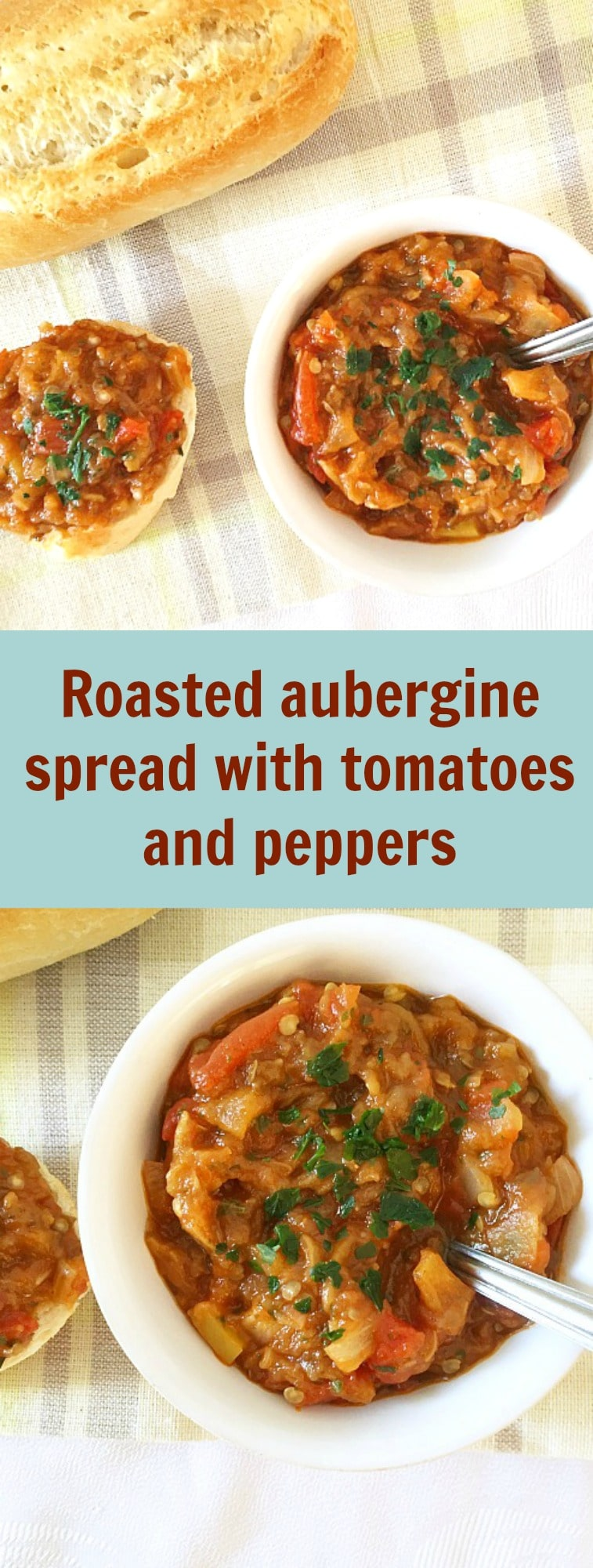 Roasted aubergine spread with tomatoes and peppers