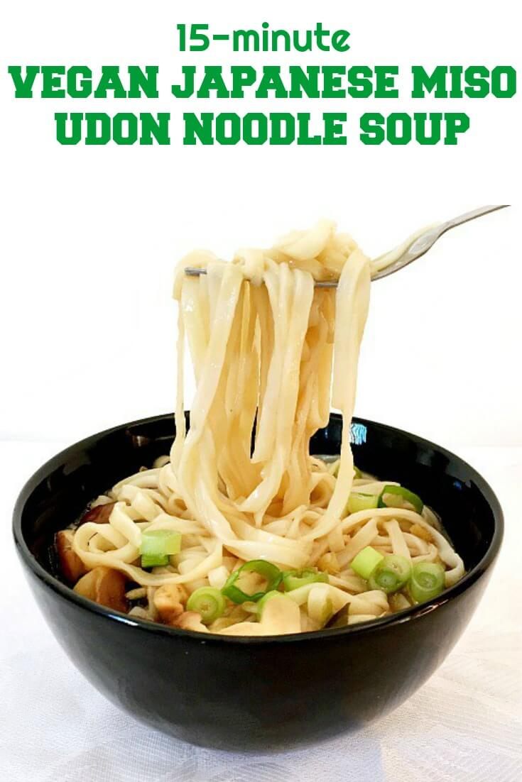 Japanese Udon Noodle Soup with miso and shiitake mushrooms, a simple recipe packed with amazing flavours. And you have your meal ready in less than 15 minutes; it can't get any better than that. A vegan-friendly recipe that is healthy and low in calorie.