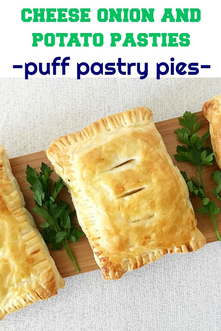 Cheese, Onion and Potato Pasty made with puff pastry, beautifully golden and flaky, with a delicious vegetarian filling. Great as a snack, or even as a light meal with a nice salad on the side. These are the best savory puff pastry pies that go down a treat as an afterschool snack. Back to school is easy peasy now.
