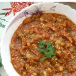 Roasted Eggplant Dip made with charred eggplant and red peppers, onions and tomatoes, a delicious appetizer that tastes like Fall. Vegetarian and vegan friendly, low in calories and healthy too.