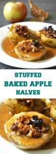 Stuffed Baked Apple Halves with walnuts, brown sugar and cinnamon, in a rich buttery sauce that has a hint of maple syrup, a true Fall delicacy to lick your fingers clean. Super simple, but so flavourful, these oven-baked apples are the best dessert one can get. It's a fantastic Thanksgiving dessert that kids and grown-ups will adore. #bakedapples, #stuffedbakedapples, #applehalves, #dessert, #thanksgivingdessert, #cinnamon