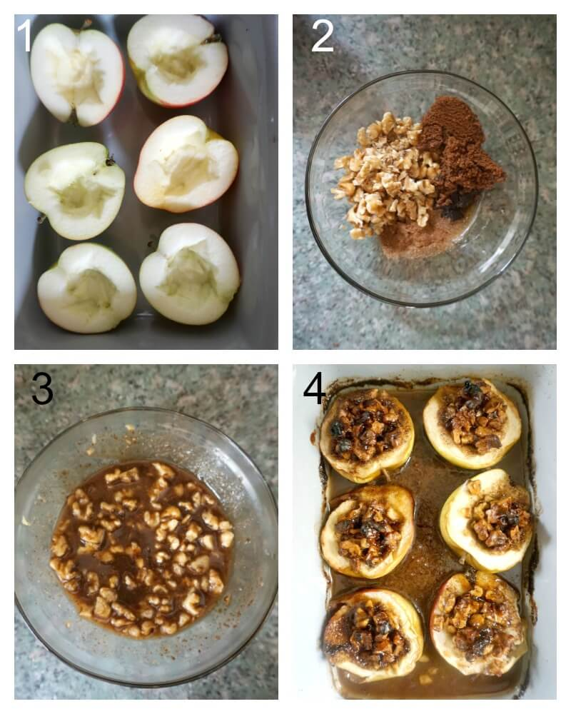 Collage of 4 photos to show how to make stuffed baked apple halves