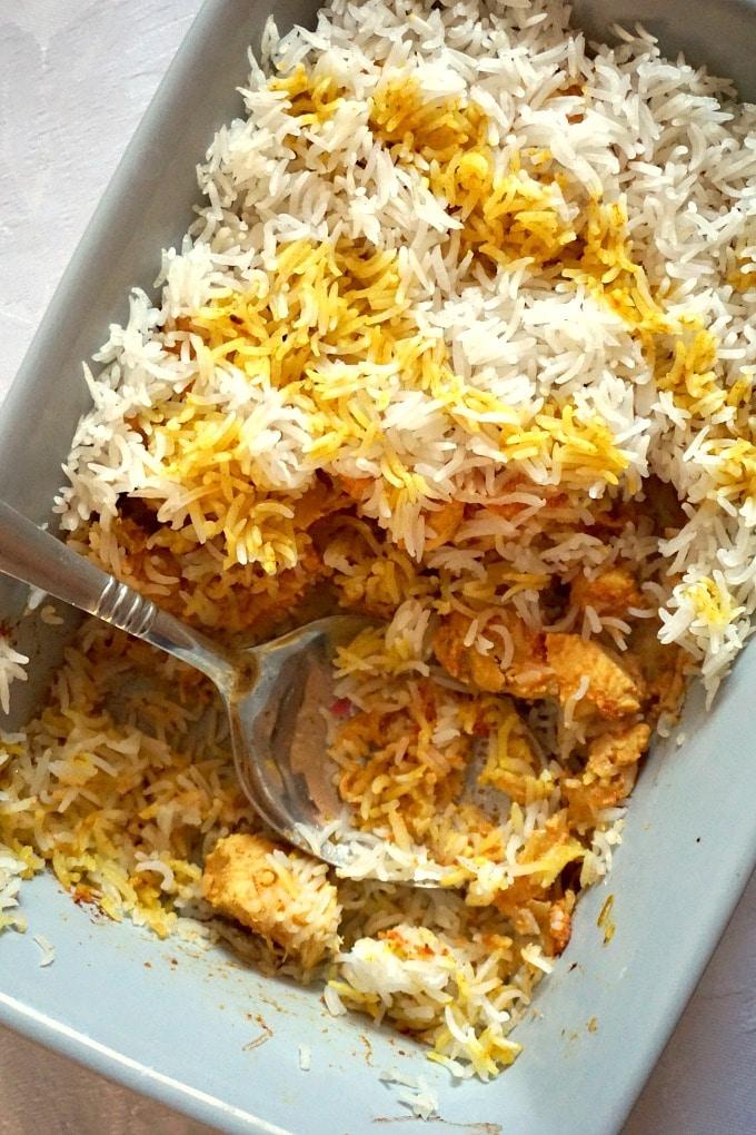 Overhead shot of a dish of chicken biryani