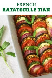 Oven Baked Ratatouille Tian, a delightful dish that is vegan, gluten free, and so healthy. Bonus point, it it a favourite with kids, and that says all about how delicious this is. Great as a side dish with any meat or even as a main meal.