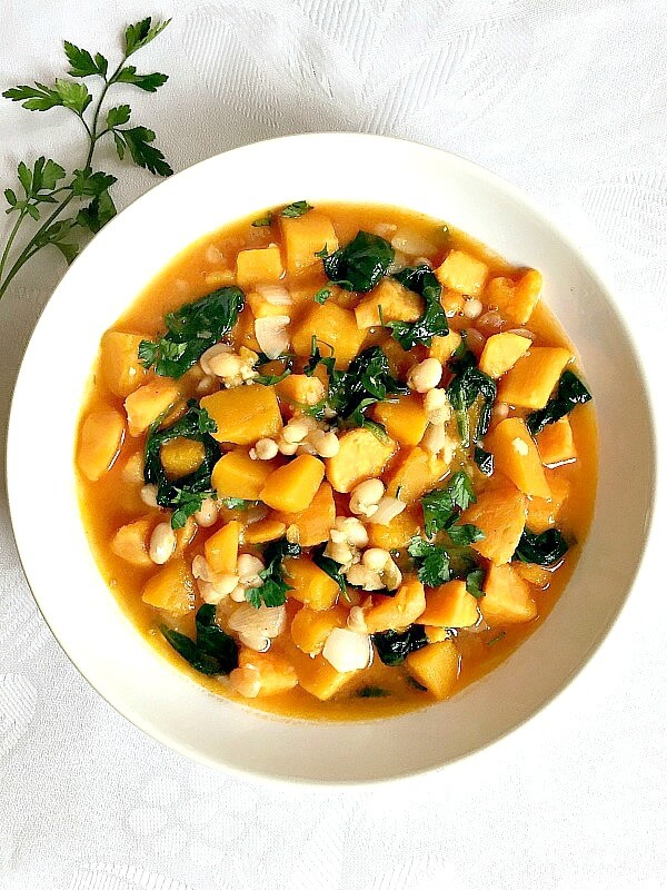 Overhead shoot of a white bowl of Butternut Squash and Sweet Potato Stew