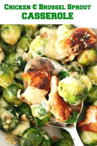 Brussel Sprouts Casserole with chicken and walnuts, a delicious dish for the whole family. A great choice for your Thanksgiving or Christmas dinner menu. Keto, low carb, high protein, this dish is a always a big hit with us.