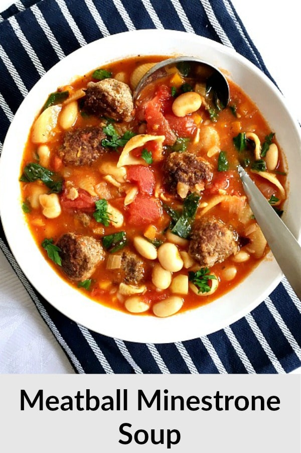 Minestrone Soup with Meatballs, a healthy soup that gives comfort food a new meaning. Filling, nutritious, and so delicious, this soup makes a great family dinner.