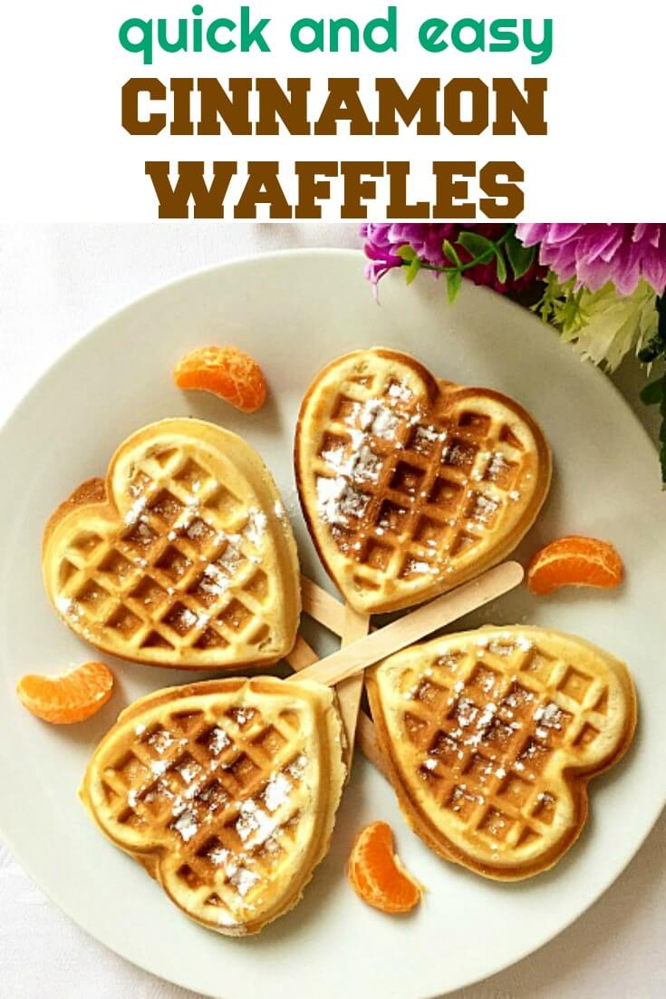 Cinnamon Waffles, quick and easy, great for breakfast or brunch, or just a nice treat whenever you feel like indulging. All you need is a waffle maker, and you get your own indulgent waffles at home. A great afternoon treat for kids too.