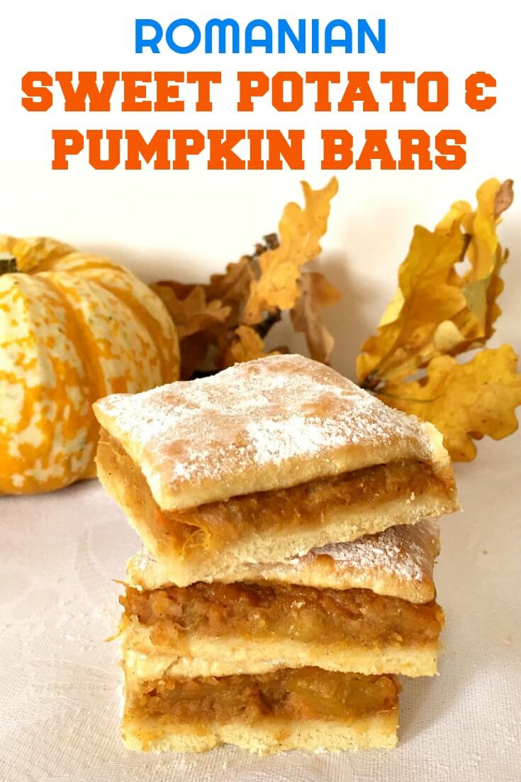 Sweet Potato & Pumpkin Bars, Fall's finest and most beloved dessert. Melt-in-your-mouth homemade pastry, delicious pumpkin and sweet potato filing with a cinnamon touch, this is one recipe you gotta try! A great Thanksgiving dessert.