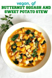 Butternut Squash and Sweet Potato Stew with beans and spinach, a healthy Fall dish. Warm, comforting and filling, gluten free, vegetarian and vegan friendly.