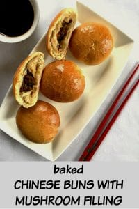 Baked Chinese Buns with Mushroom Filling, a true Asian delicacy. Perfect to serve with a hot cup of green tea, either for brunch or any other meal. If you are looking for appetizers for parties, you are in the right place. The best vegetarian dim sum.
