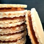 A stack of caramel wafers