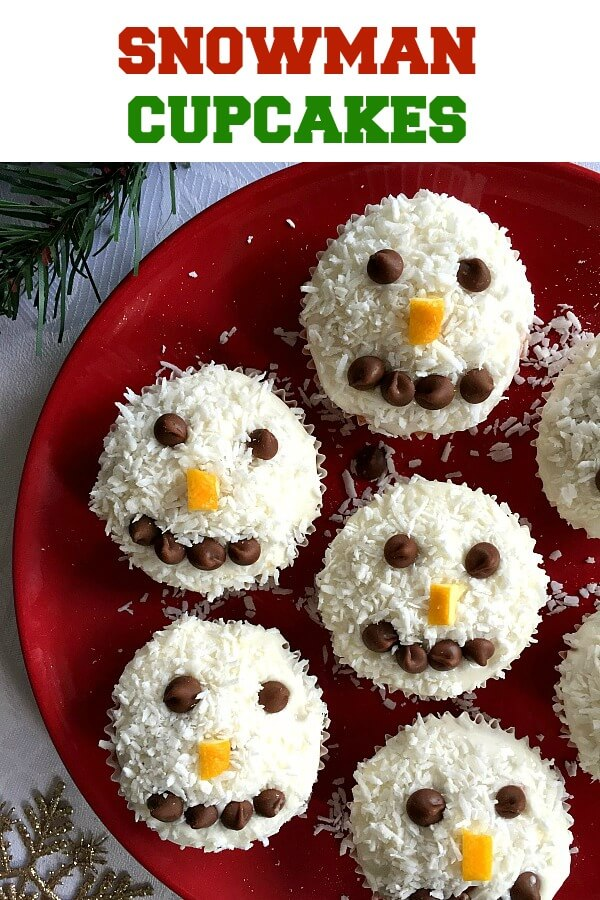 Snowman Cupcakes with coconut and chocolate chips, the best Christmas cupcakes for kids and grown-ups alike. Super easy to make, ready in no time, and gone from the plate in seconds.