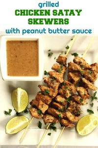 Chicken Satay Skewers with Peanut Butter Sauce, a fantastic appetizer that will be the star of any party. Absolutely flavourful and tasty, super easy to make, these skewers are the best of the grilling season. They can also be easily made on a grilling pan to be enjoyed all year around. Low carb, gluten free, and just heaven.